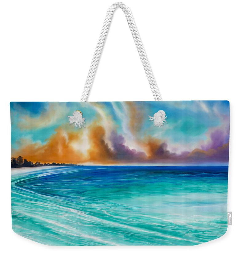 Sunrise Weekender Tote Bag featuring the painting Cazumel by James Christopher Hill
