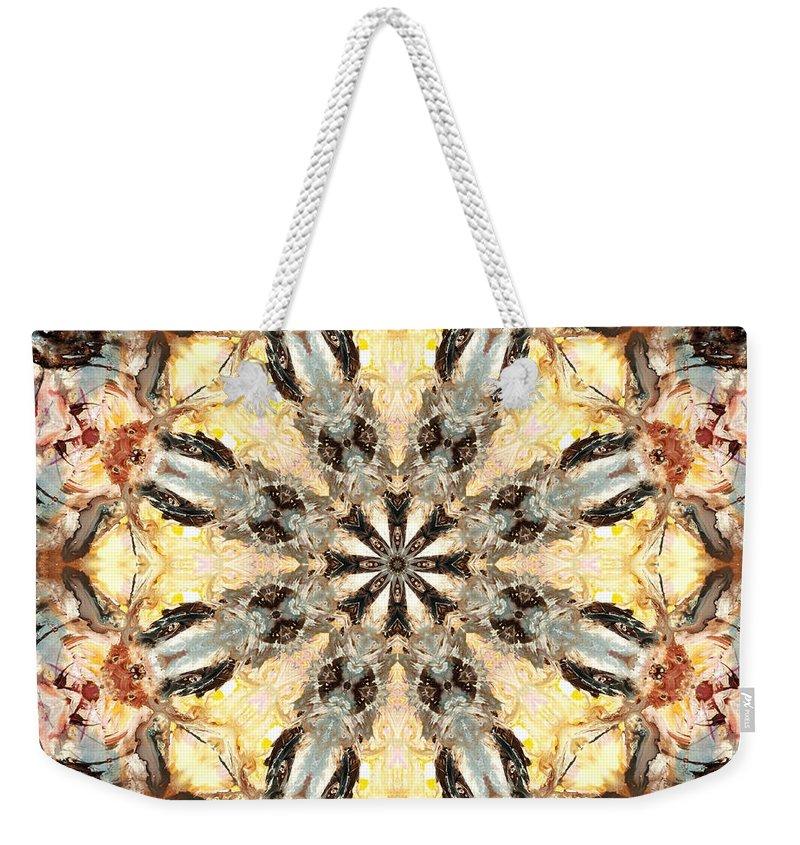 Mandala Weekender Tote Bag featuring the digital art Cecropia Sun 5 by Lisa Lipsett