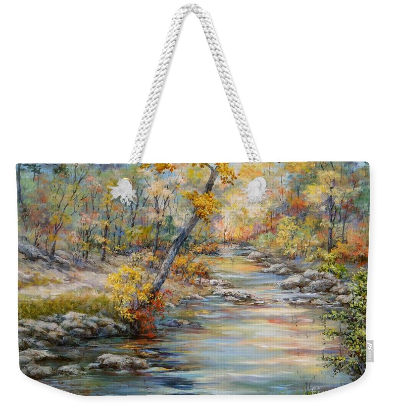 Landscape Weekender Tote Bag featuring the painting Cedar Creek Trail by Virginia Potter