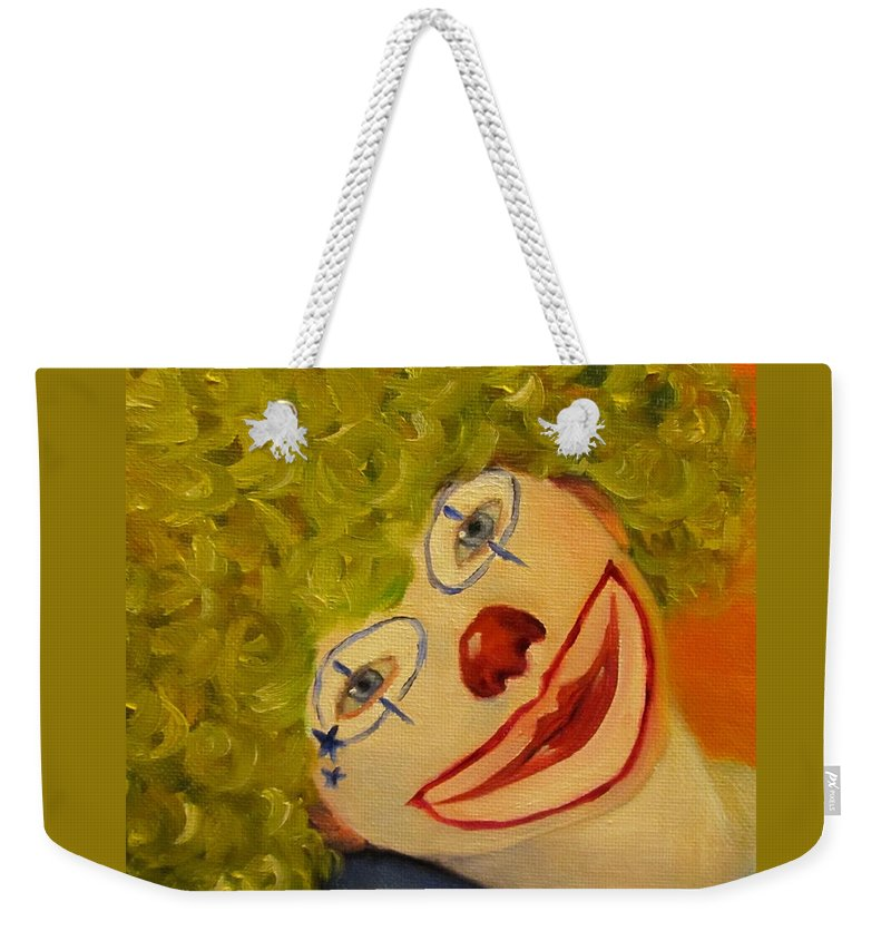 Boy Weekender Tote Bag featuring the painting Cee-cee, Child Clown by Sandra Reeves