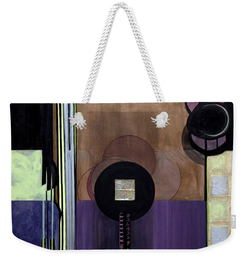 Abstract Weekender Tote Bag featuring the painting Celadons by Marlene Burns