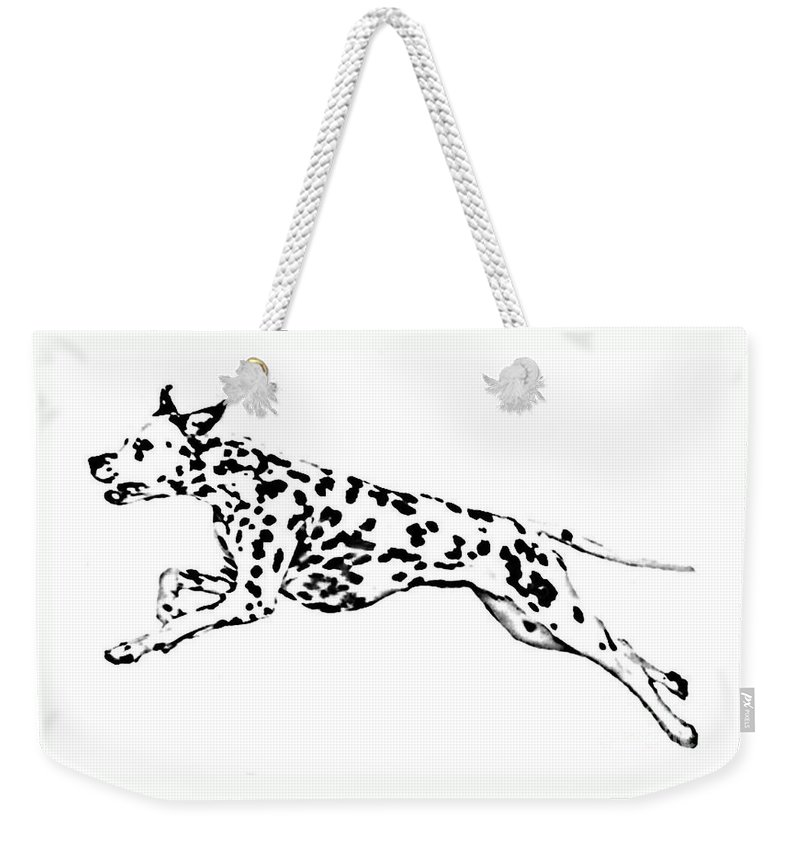 Dogs Weekender Tote Bag featuring the drawing Celebrate by Jacki McGovern