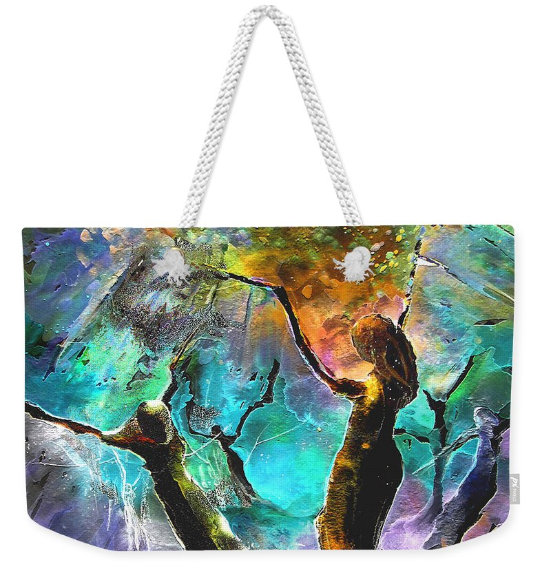 Miki Weekender Tote Bag featuring the painting Celebration Of Life by Miki De Goodaboom