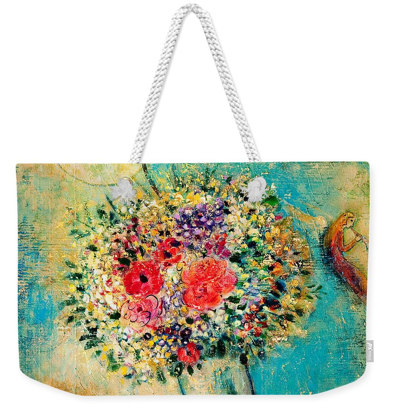Flower Weekender Tote Bag featuring the painting Celebration by Shijun Munns