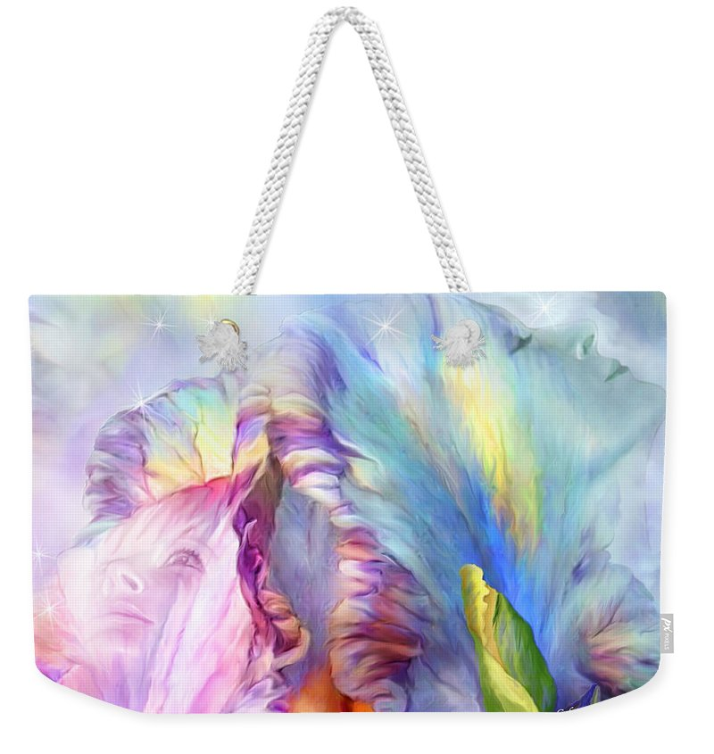 Iris Weekender Tote Bag featuring the mixed media Celestial Goddesses by Carol Cavalaris