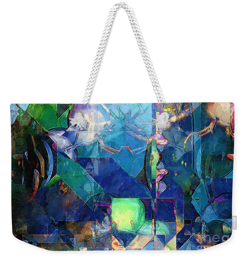Abstract Weekender Tote Bag featuring the painting Celestial Sea by RC DeWinter