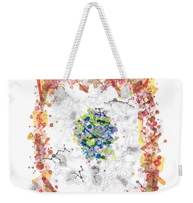 Cell Weekender Tote Bag featuring the drawing Cellular Generation by Regina Valluzzi