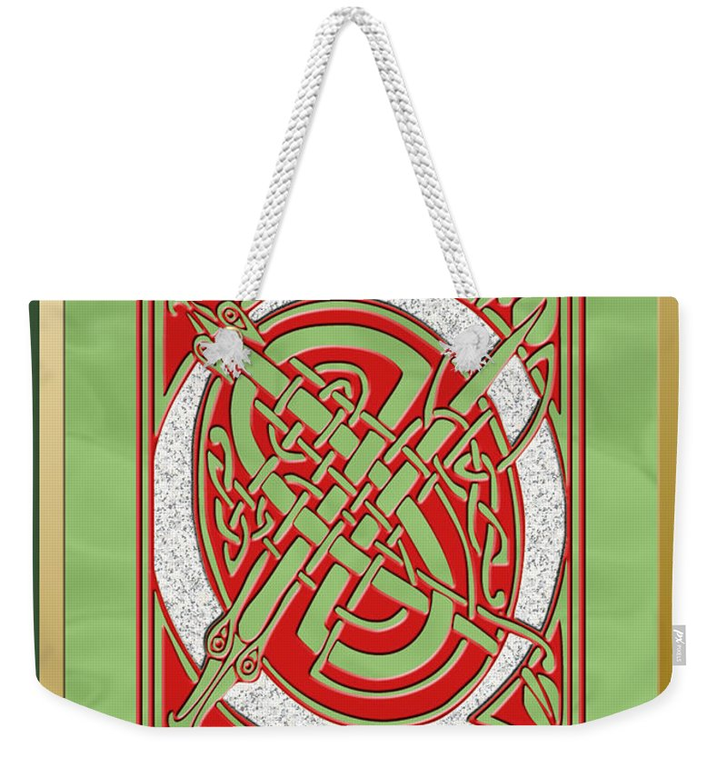 Monogram Weekender Tote Bag featuring the digital art Celtic Christmas Q Initial by Melissa A Benson