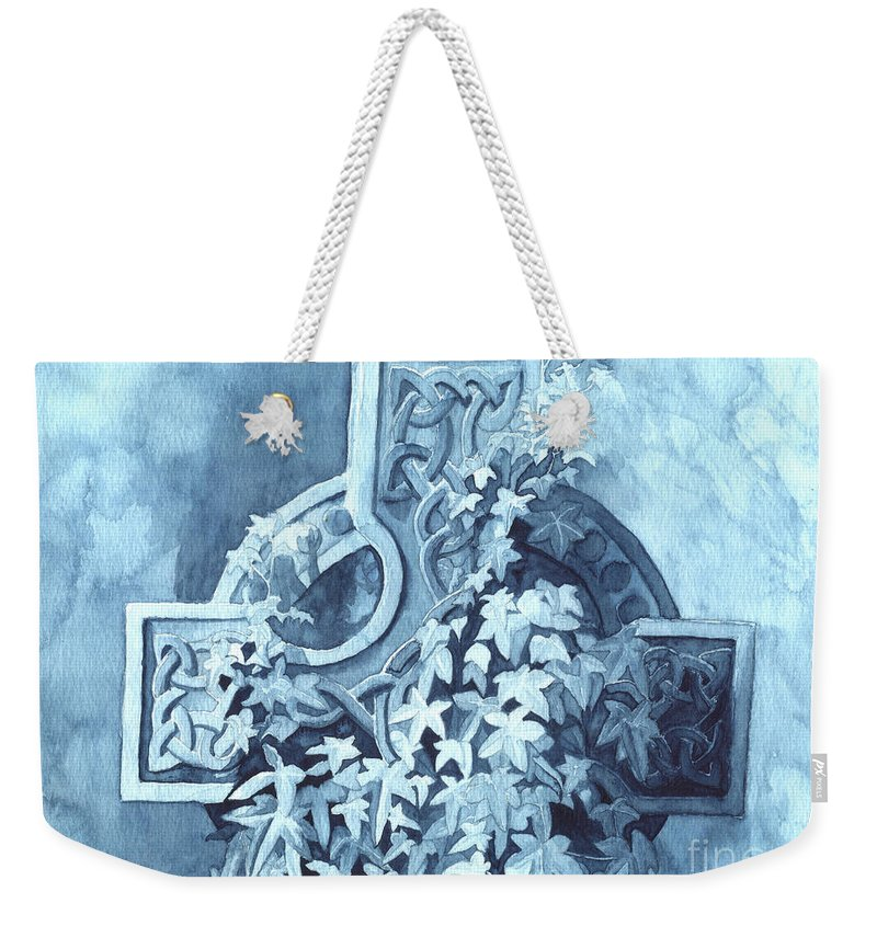 Celtic Cross Weekender Tote Bag featuring the painting Celtic Cross Study by Lynn Quinn
