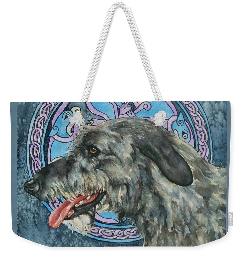 Celtic Weekender Tote Bag featuring the painting Celtic Hound by Beth Clark-McDonal
