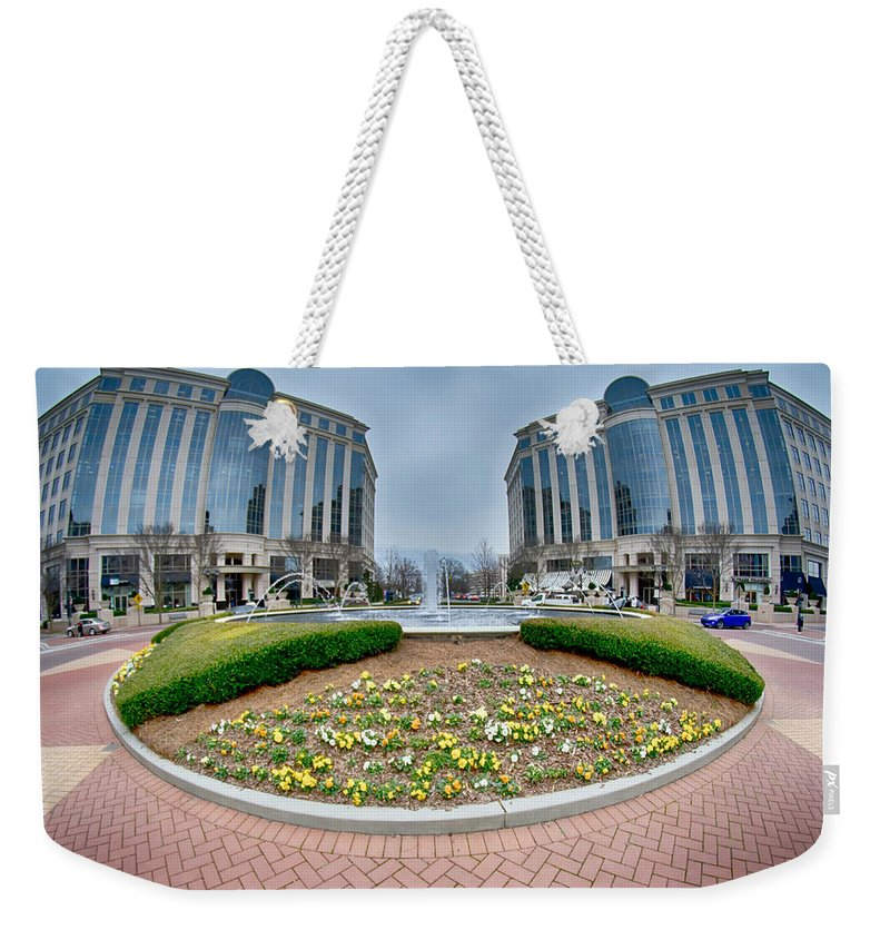 Center Weekender Tote Bag featuring the photograph Center Fountain Piece In Piedmont Plaza Charlotte Nc by Alex Grichenko