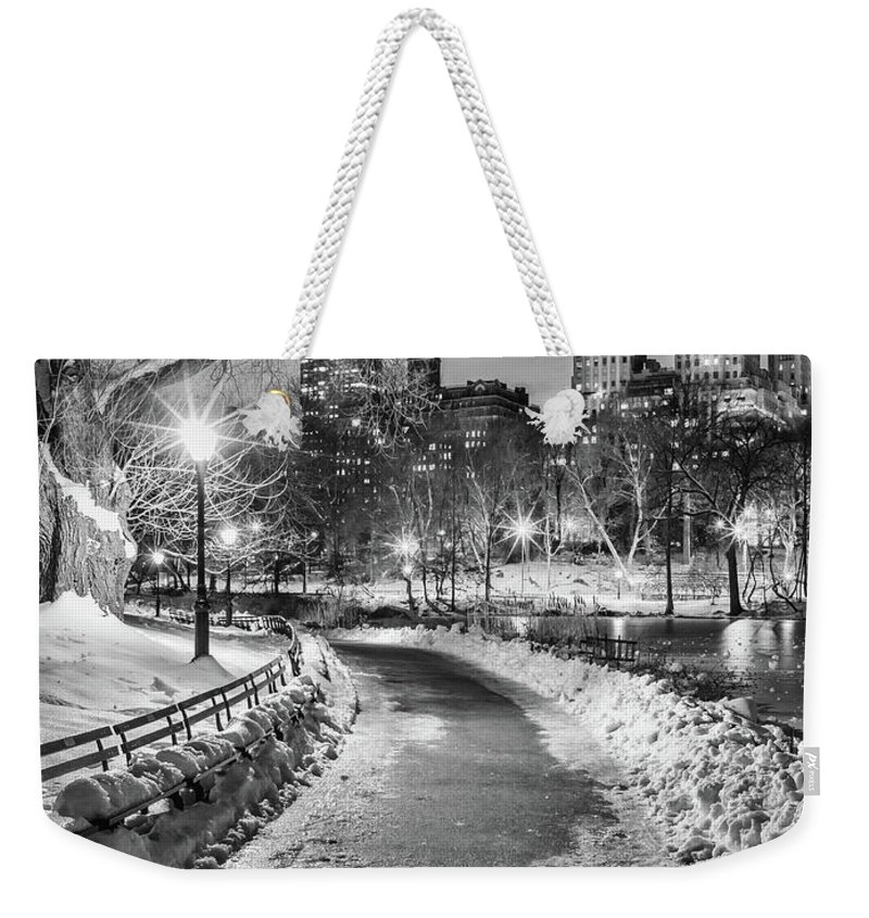 Snow Weekender Tote Bag featuring the photograph Central Park Path Night Black & White by Michael Lee