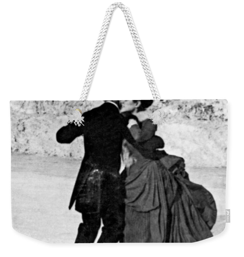 1890 Weekender Tote Bag featuring the photograph Central Park Victorian Skaters by Underwood Archives