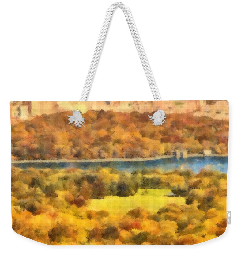 Central Park Watercolor Weekender Tote Bag featuring the painting Central Park Watercolor by Dan Sproul