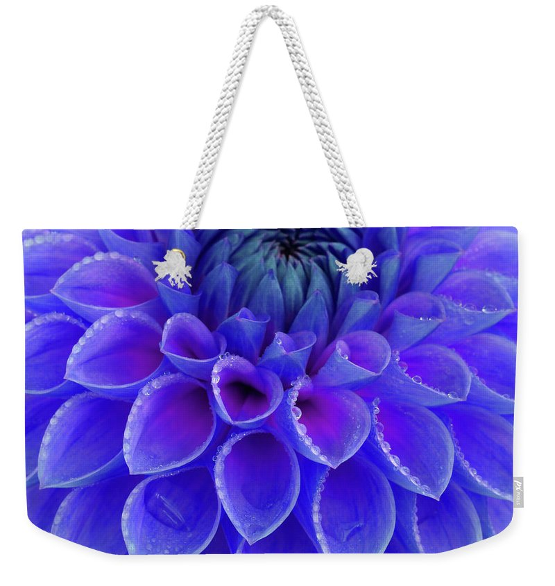 Haslemere Weekender Tote Bag featuring the photograph Centre Of Blue And Purple Dahlia Flower by Rosemary Calvert