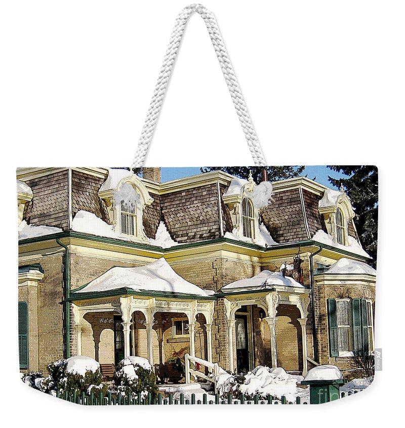 House Weekender Tote Bag featuring the photograph Century Home In Winter by Nina Silver