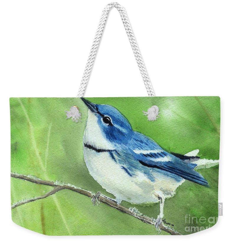 Bird Weekender Tote Bag featuring the painting Cerulean Warbler by Lynn Quinn