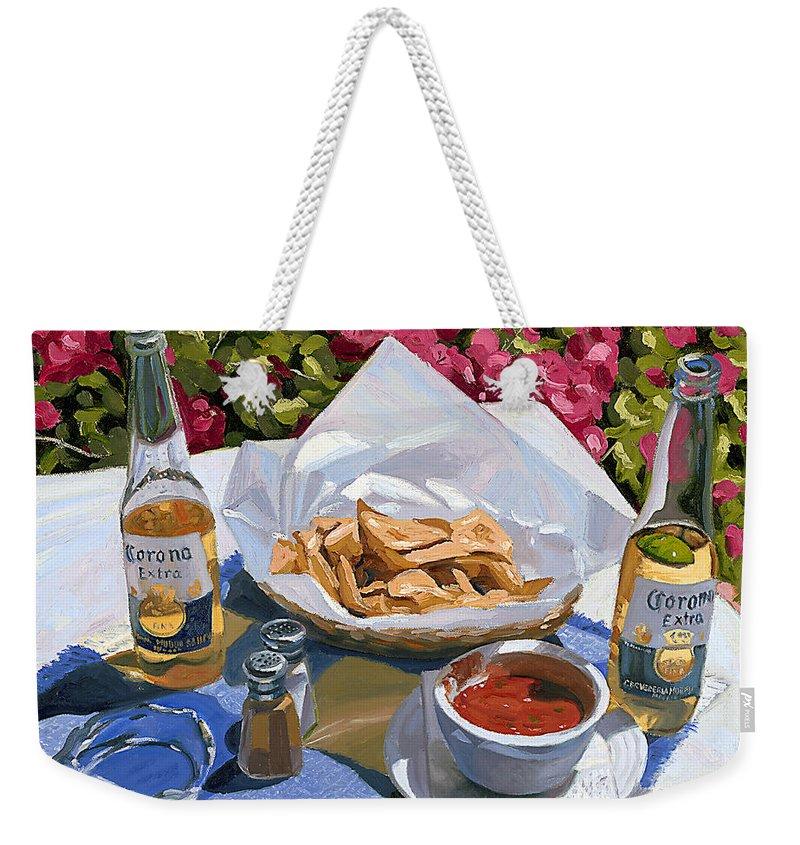 Beer Weekender Tote Bag featuring the painting Cervezas y Nachos - Coronas with Nachos by Steve Simon