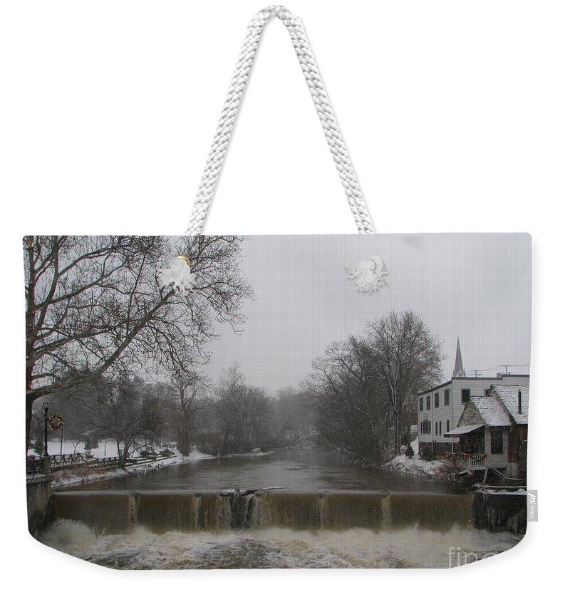 Chagrin Falls Weekender Tote Bag featuring the photograph Chagrin Falls Xmas by Michael Krek