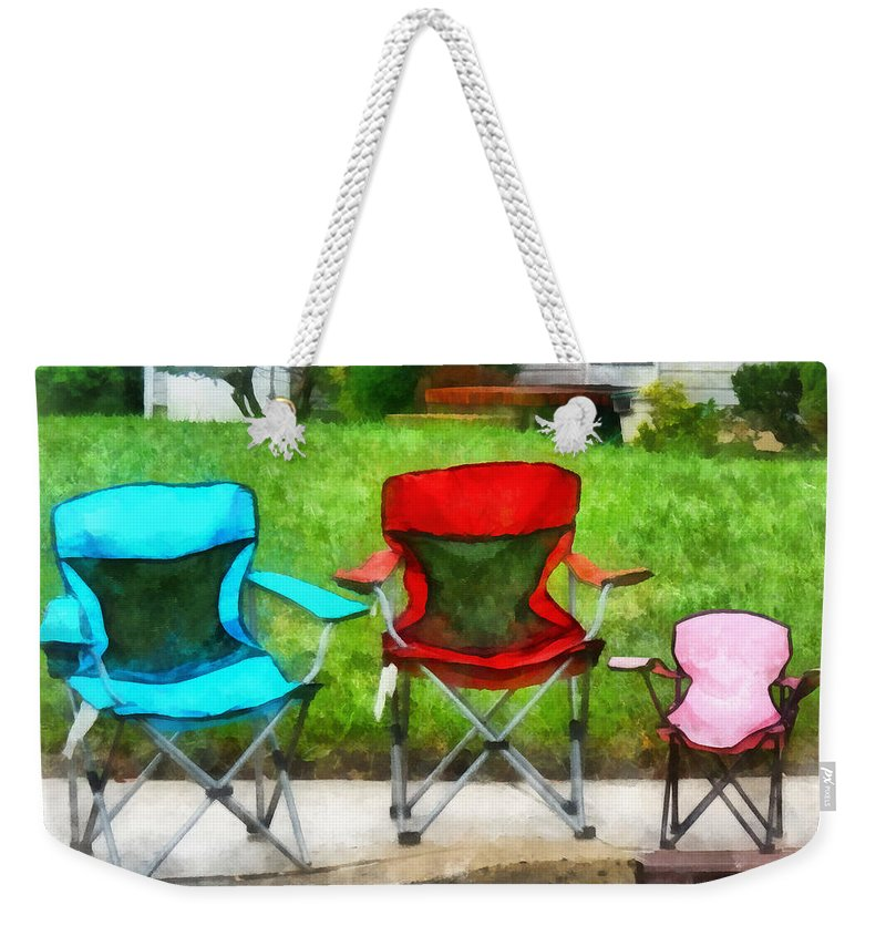 Folding Chair Weekender Tote Bag featuring the photograph Chair Family by Susan Savad