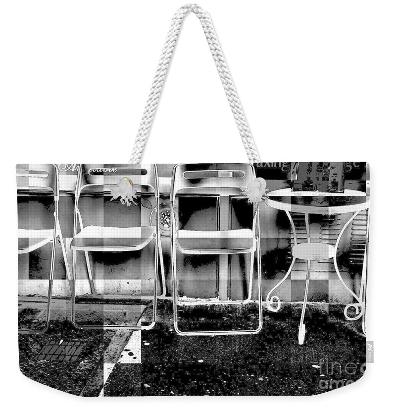Chairs; Retro Art;abstract Weekender Tote Bag featuring the photograph Chairs - New York City Street Scene by Miriam Danar