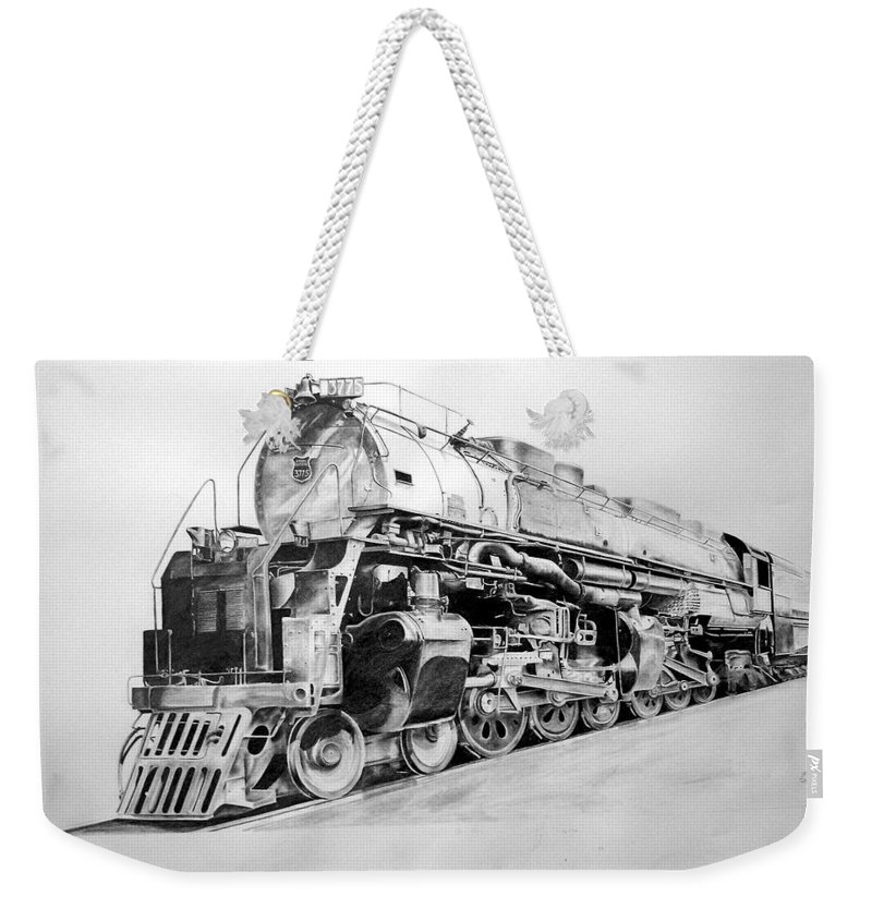Steam Locomotive Weekender Tote Bag featuring the drawing Challenger by Glen Frear