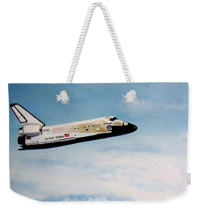 Shuttle Weekender Tote Bag featuring the painting Challenger by Murphy Elliott