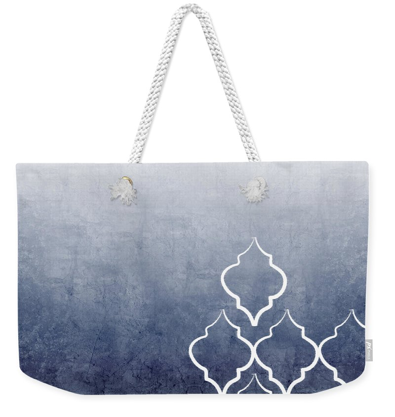 Abstract Weekender Tote Bag featuring the mixed media Chambray Ombre by Linda Woods
