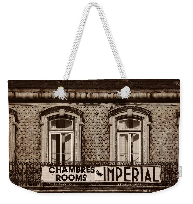 Chambres Imperial Lisbon Weekender Tote Bag featuring the photograph Chambres Imperial Lisbon by Mary Machare