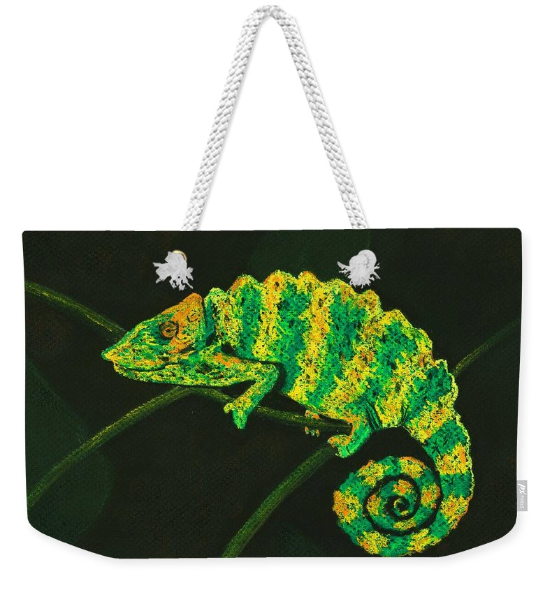 Fantasy Weekender Tote Bag featuring the pastel Chameleon by Anastasiya Malakhova