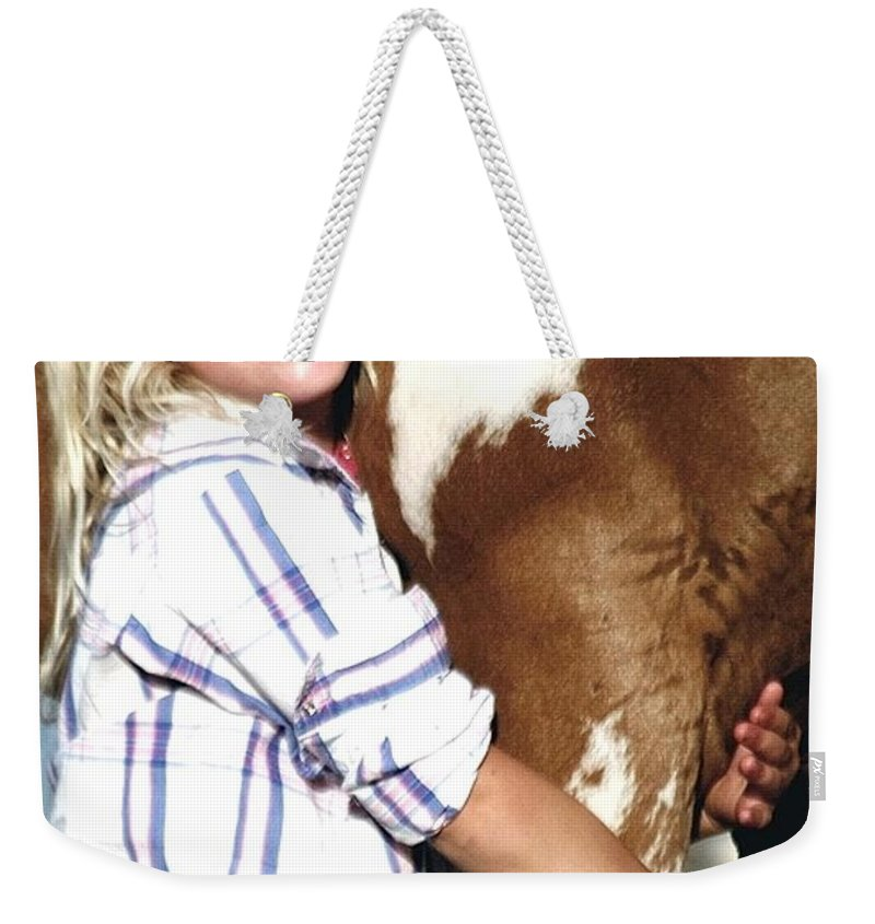 Ranch Weekender Tote Bag featuring the photograph Champ And Peanut by Jerry Sodorff