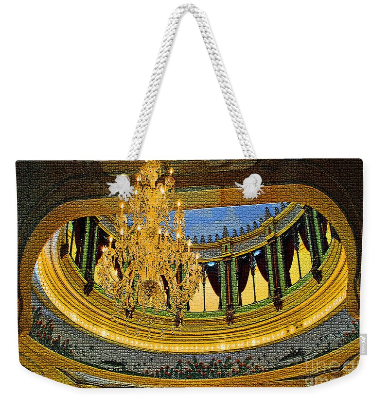 University Weekender Tote Bag featuring the photograph Chandlier Theatre by Jost Houk
