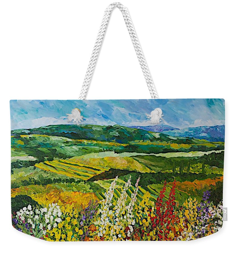 Landscape Weekender Tote Bag featuring the painting Change is in the Air by Allan P Friedlander