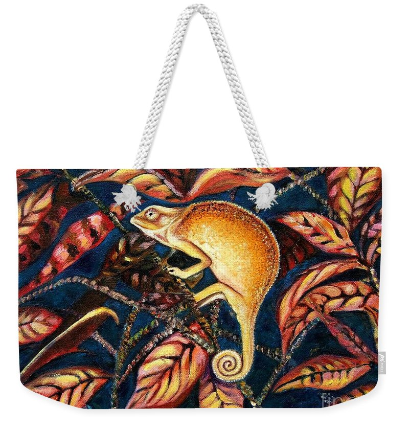 Chameleon Weekender Tote Bag featuring the painting Changing Colors by Caroline Street