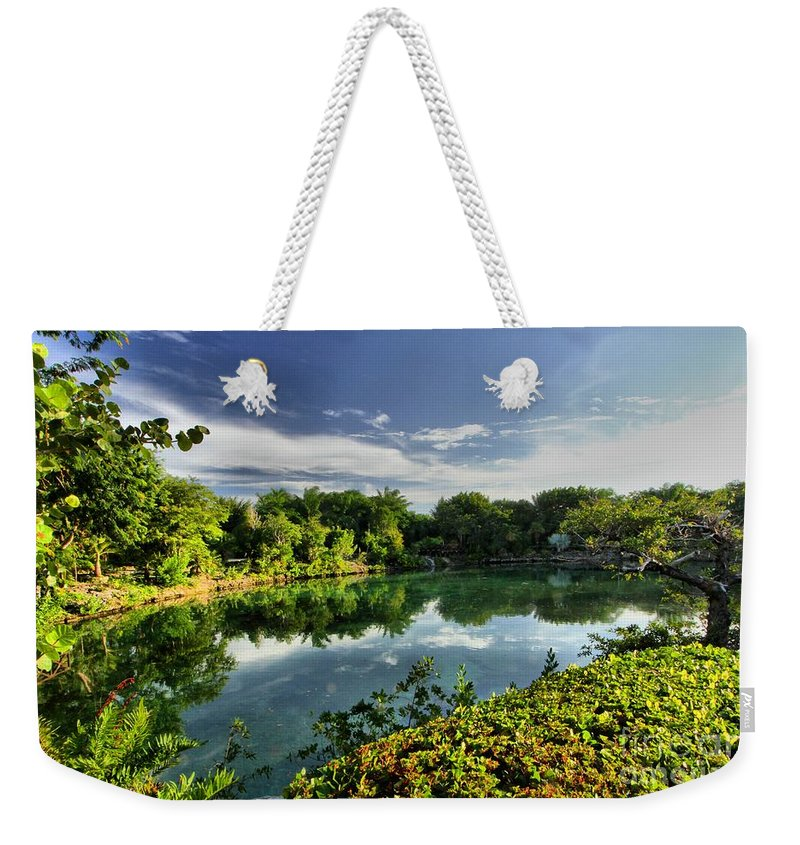 Chankanaab Weekender Tote Bag featuring the photograph Chankanaab Lagoon Reflections by Adam Jewell
