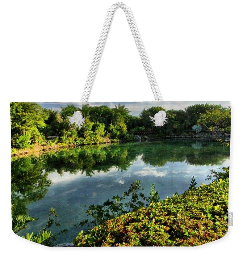 Chankanaab Weekender Tote Bag featuring the photograph Chankanaab Mexico Lagoon by Adam Jewell