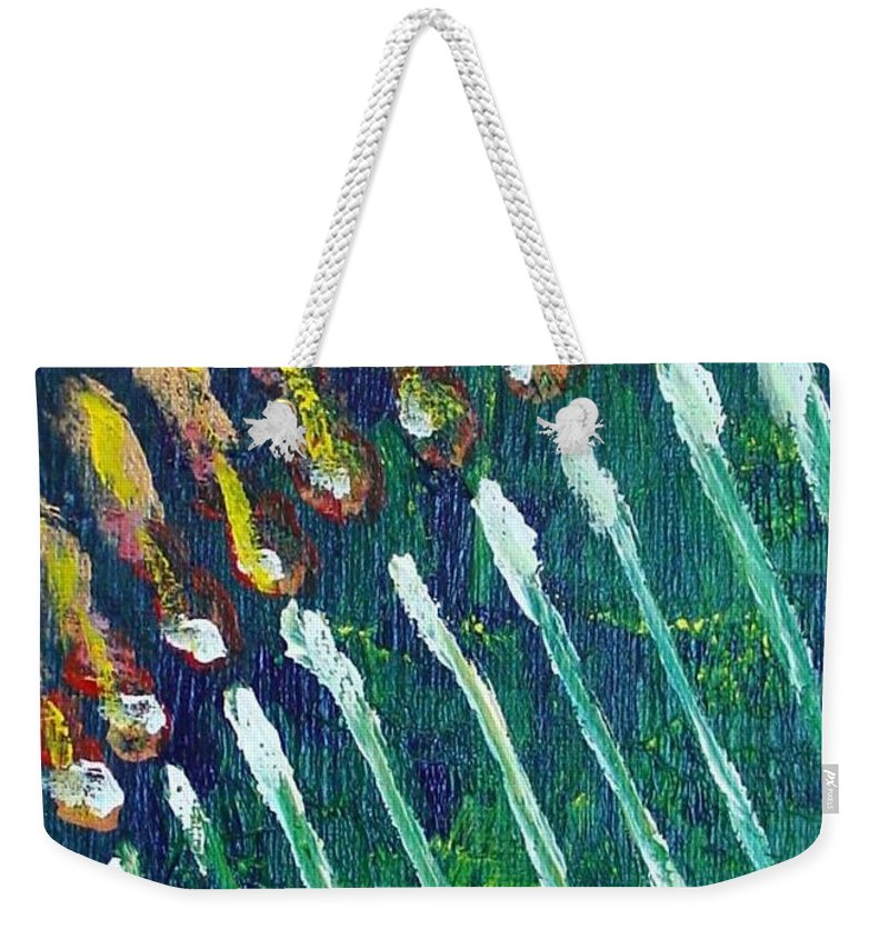 Chanukah Weekender Tote Bag featuring the painting Chanukiah In The Dark by Laurie Morgan