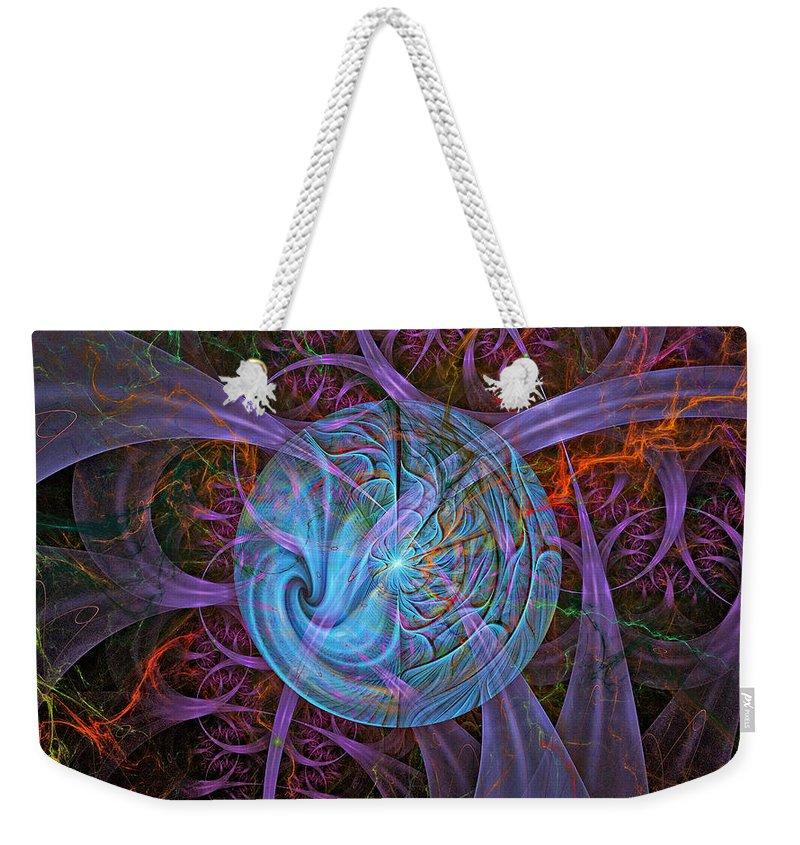 Fractal Art Weekender Tote Bag featuring the digital art Chaos by Rhonda Barrett