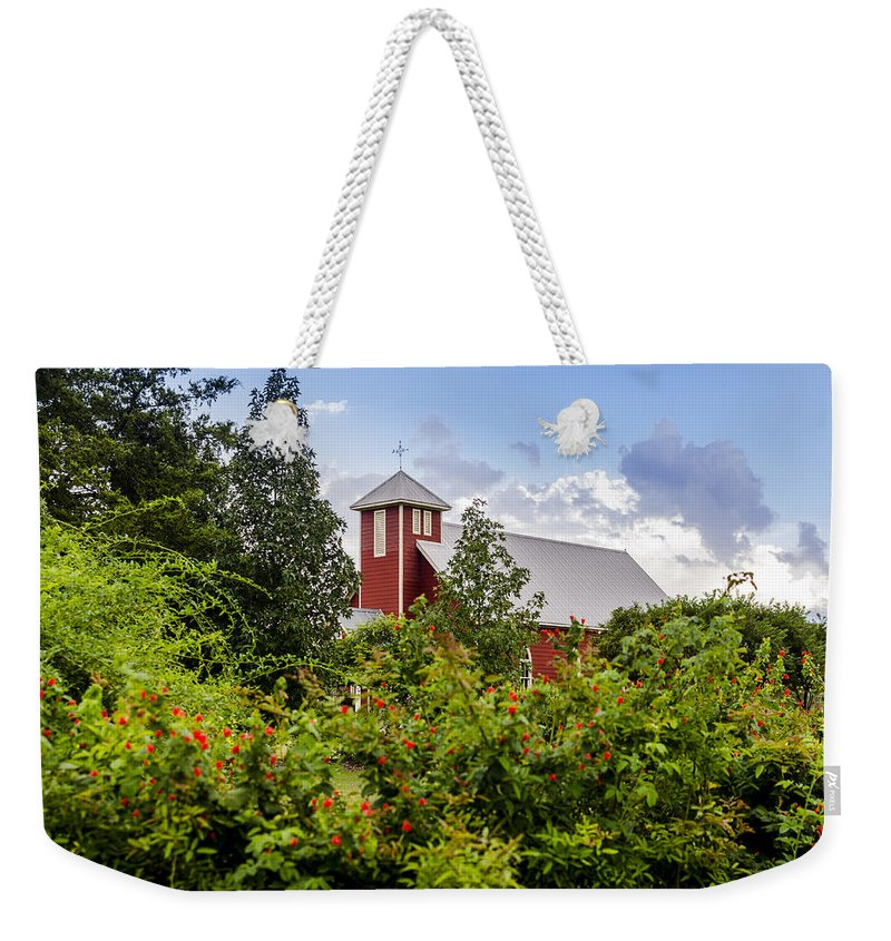 Chapel At The Antique Rose Emporium Weekender Tote Bag featuring the photograph Chapel At The Antique Rose Emporium by David Morefield