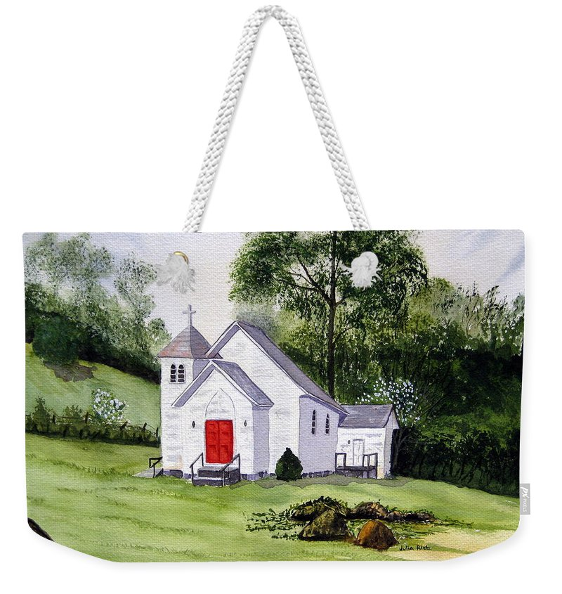 Church Weekender Tote Bag featuring the painting Chapel In The Mounts by Julia Rietz