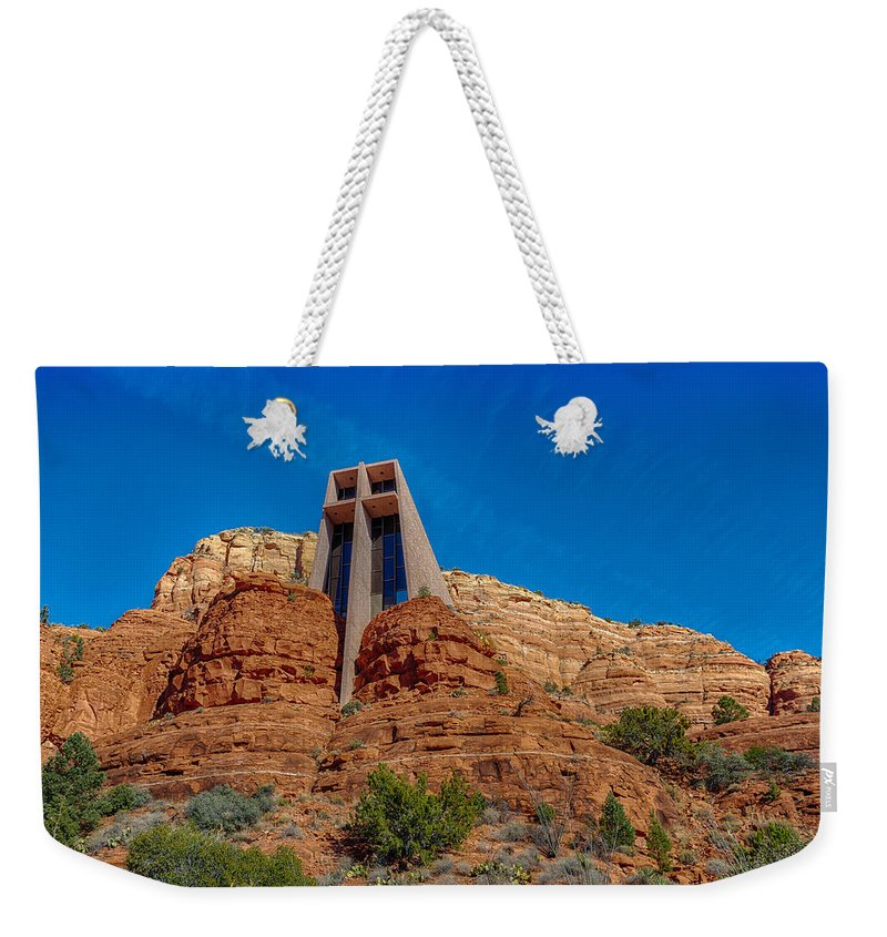 Cross Weekender Tote Bag featuring the photograph Chapel Of The Holy Cross Sedona Az Front by Scott Campbell