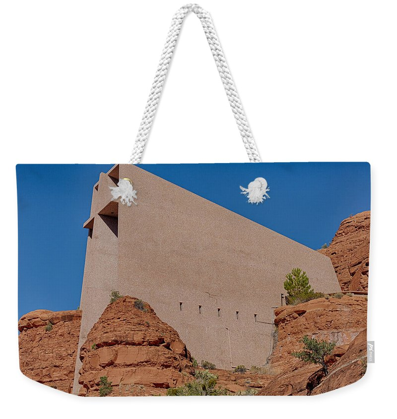 Cross Weekender Tote Bag featuring the photograph Chapel Of The Holy Cross Sedona Az Side by Scott Campbell