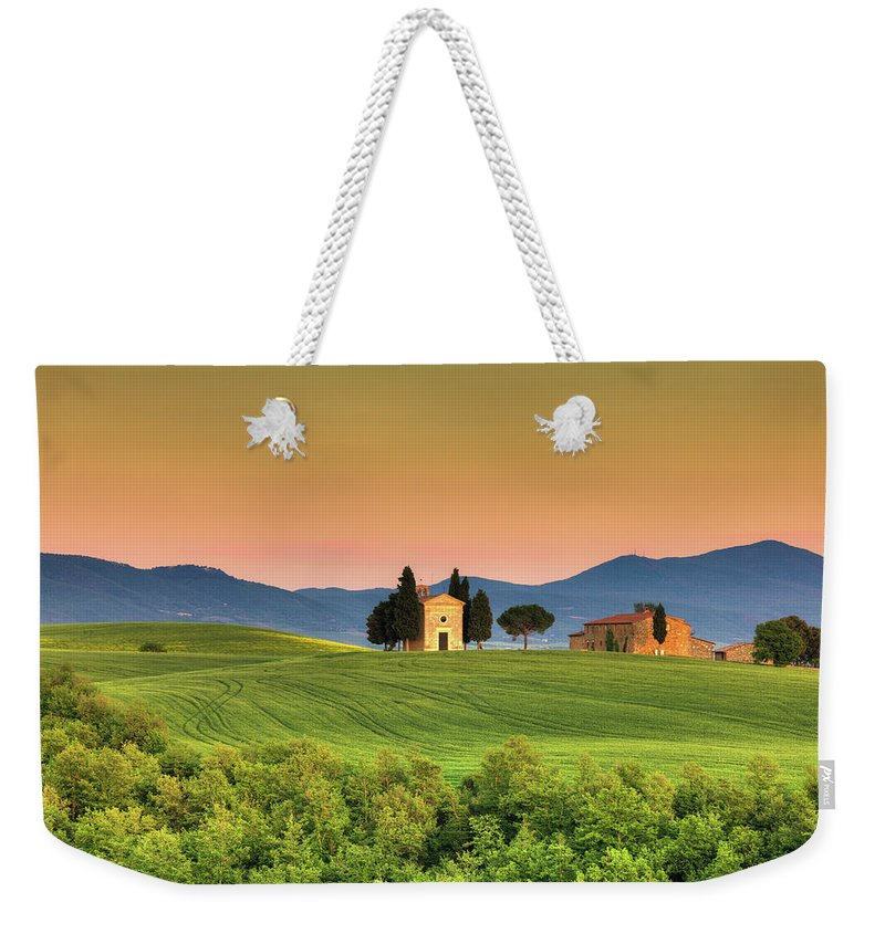 Roman Weekender Tote Bag featuring the photograph Chapel Of Vitaleta In Tuscany, Val by Zodebala