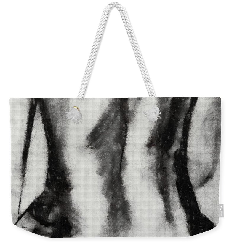 Nude Weekender Tote Bag featuring the drawing Charcoal Back by Dragica Micki Fortuna