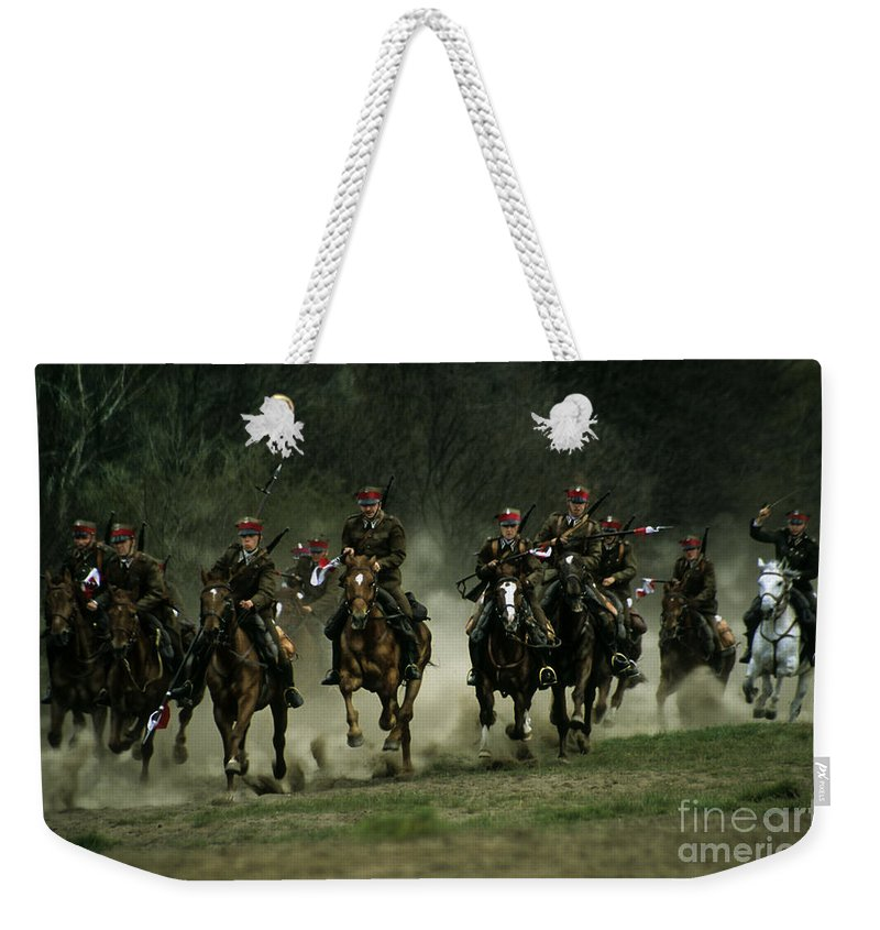 Cavalery Weekender Tote Bag featuring the photograph Charge by Angel Ciesniarska