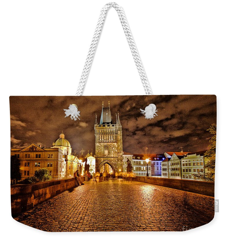 Charles Bridge Weekender Tote Bag featuring the photograph Charles Bridge At Night by Madeline Ellis