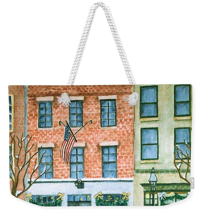 Charles Street Hardware Weekender Tote Bag featuring the painting Charles Street Hardware by Rhonda Leonard