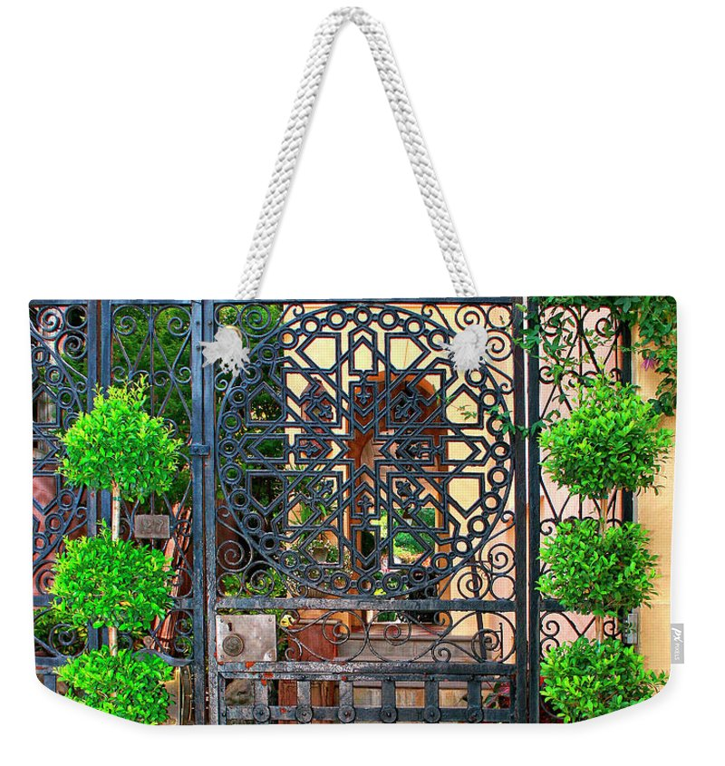 Charleston Weekender Tote Bag featuring the photograph Charleston Gate Charleston Sc by William Dey
