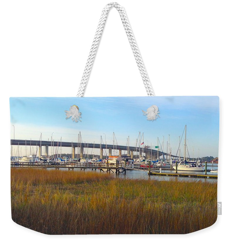 Charleston Harbor Weekender Tote Bag featuring the photograph Charleston Harbor And Marsh by M West
