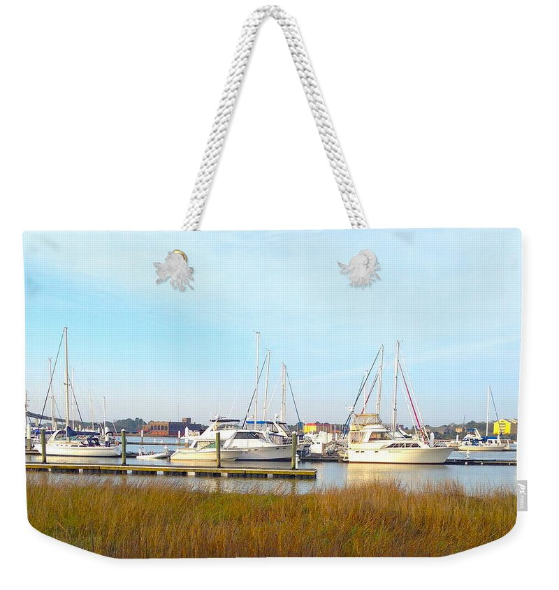 Charleston Harbor Weekender Tote Bag featuring the photograph Charleston Harbor Boats by M West